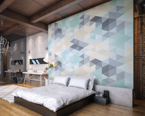 This beautiful mixture of pastel colours combined with the geometric shapes makes for a subtle yet distinctive wall mural design.