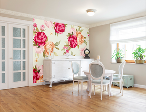 Red, yellow, and pink Peonia on a lovely warm cream background make this Peonie floral wall mural a popular choice.