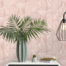 This stunnin pink Hexagon Wallpaper Pattern is so classy for a salon or home office. With hints of metallic it really does add an elegant dimension in a light pink.