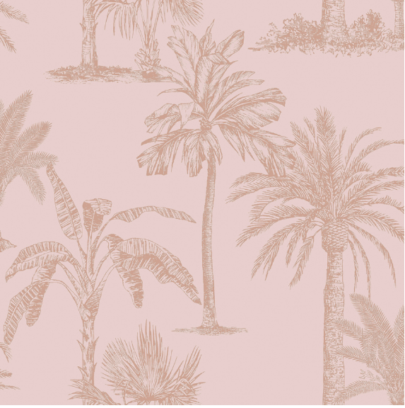 Glistening Tropical Tree Blush Pink Wallpaper