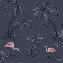 Flamingo Lake Blue Wallpaper