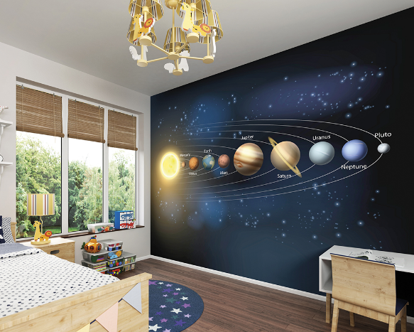 A richly illustrated info-graphic perfect for budding astronauts and astronomers, this planets' wall mural is a map to guide you through planets and galaxies.