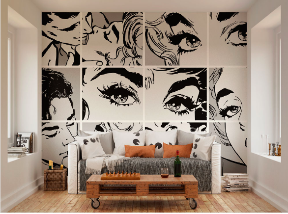 This black and white comic pop mural showing the closeness of a couple kissing adds an elements of fun and closeness to your room.