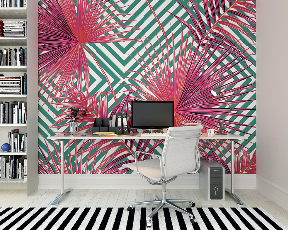 Pink Palm LeavesReady Made Wall Mural