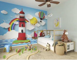 Hot air balloons, rainbows and a lighthouse make up for the perfect baby room wall covering. So much detail and colour this will entertain your child for hours and add an element of intrique to a currently bland wall.