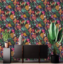 This tropical purple wallpaper is a quirky additon to your walls with parrts, bush babies, and chameleons.