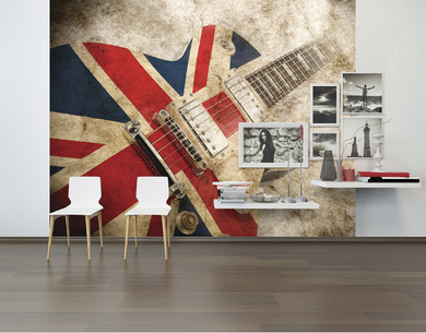 A classic music symbol combined with a classic British symbol all given a vintage twist with a distressed sepia background, this mural is a fantastic feature for any room.