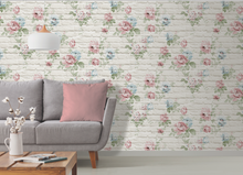 Cream Bricks with vintage floral design