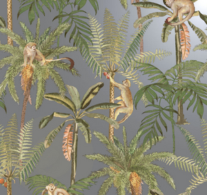 silver wallpaper with monkeys and palm trees is a fun design for any room in your home or office.