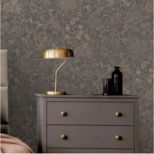 Imogen Slate Rose Gold Wallpaper - Bakau