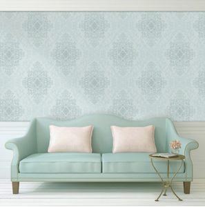 Eden Damask Teal Wallpaper -HW