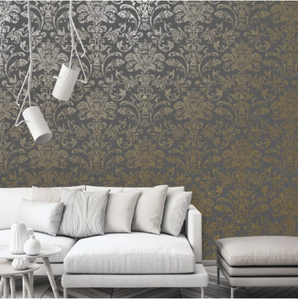 Glistening Damask Charcoal/Gold
