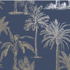 Glistening Tropical Tree Navy Wallpaper
