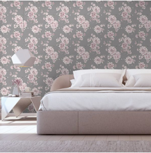 Peony Floral Grey Blush Pink Wallpaper