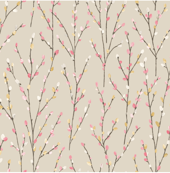 Beige and Coral Willow Wallpaper