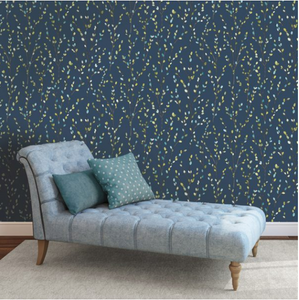 Navy Lime Willow Wallpaper