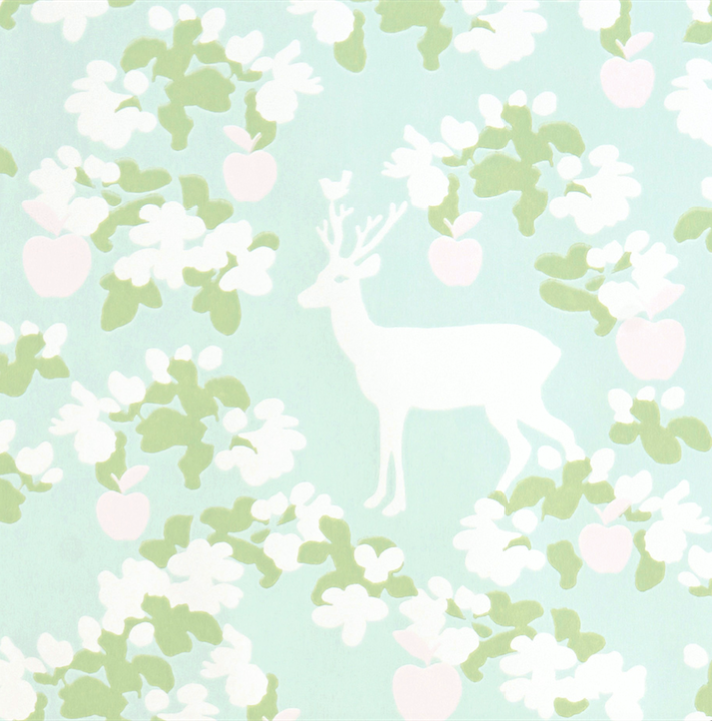 Majvillan Apple Garden Turquoise Wallpaper