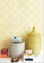 This gloriously warm yellow damask wallpaper pattern will brighten up any room with its intricate pattern and fine details.