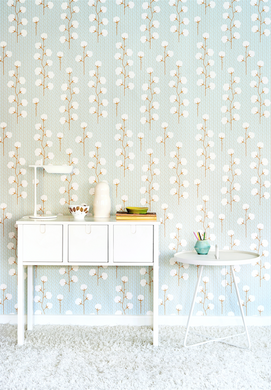 This lovely turquoise, grey, and cream white wallpaper will add class and glamour to any bedroom or nursery.