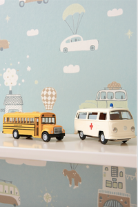 This fun transport design will add colour and contrast to any bedroom.