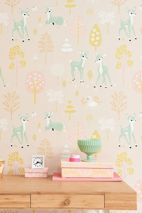 Majvillan Golden Woods Pink Wallpaper