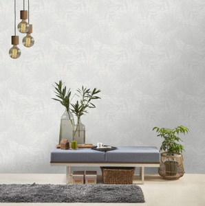 Bambara Leaf White Wallpaper