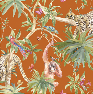 This bright and bold burnt orange coloured wall covering will entice all eyes to a feature wall covered in this. The animals in this design give the tropical feel a sense of warmth and honesty. An ideal floral wallpaper for your living room, dining room or hallway.