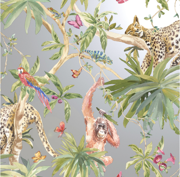A gorgeous Leopard wallpaper featuring bright toucans, lazy leopards and orangutans ona shimmering silver background will definately be the hero product in any room.