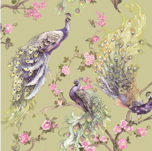 This green wallpaper design is so soft and elegant with peacocks that have been painted, and hints of soft metallic highlights and small pink flowers combine to make an elegant, and gentle pattern for any walls in your home.
