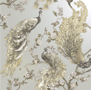 This gorgeous silver wallpaper design features a painted peacock with metallic highlights. This design is soft and elegant, yet impactful in any room in your home.
