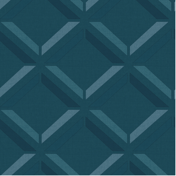 Kaleidoscope Lana Geo 3D Teal Wallpaper
