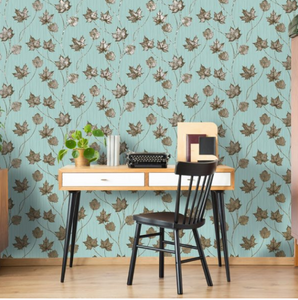 Elements Maple Teal Wallpaper