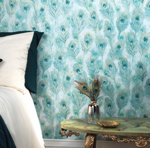 This blue green bird feather wallpaper is unusual and eye catching in a very gentle and subtle way. This design gives the feel of soft falling feathers and adds a great touch of nature to a room.