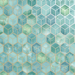 This stunning blue green geometric design has flickers of metallic on a marble like background making this a gorgeous choice for a dining room, bedroom, or powder room wallpaper.