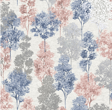 This tree wallpaper design is so soft and easy on the eye with the light pink, blue, and grey trees overlapping with one another.