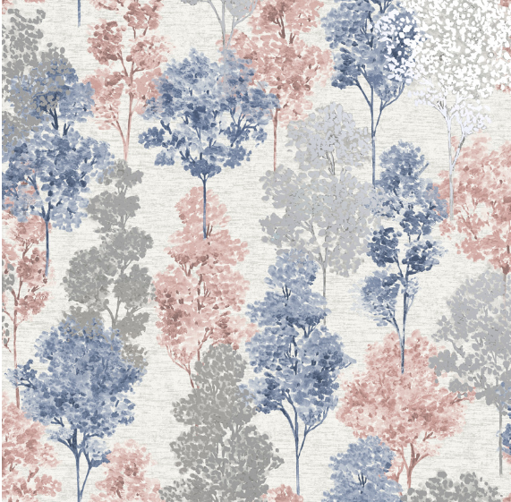 Elements Whinfell Navy/Coral Wallpaper