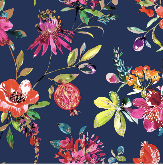 This bold and bright navy blue wallpaper design with pomegranates and florals is made even more beautiful with the specs of metallic in the pattern.
