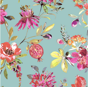 This design is a fun way to include florals, pomegranates and flickers of metallic on a blue green background.