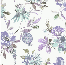 This soft purple pattern with florals and pomegranates is a great choice for a kitchen and includes specks of metallic too.