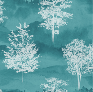This blue green tree pattern is subtle yet so impactful and can be used for any room in your home such as the living room or dining room.