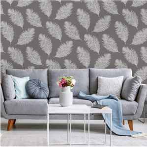 White Feathers floating against a grey matte background is a very gentle feather wallpaper design for any wall in your home or office.