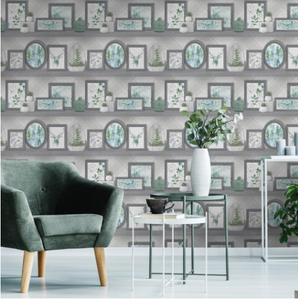 Aberfeldy Grey/Teal Wallpaper