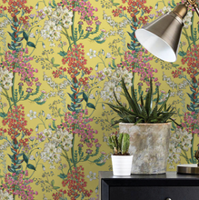 This yellow botanics wallpaper is perfect for all lovers of botanics with the bright yellow background with green, pink, white and red of the flowers.