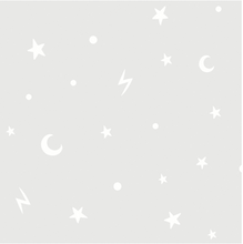 Stars and Moons Grey Glow In Dark Wallpaper