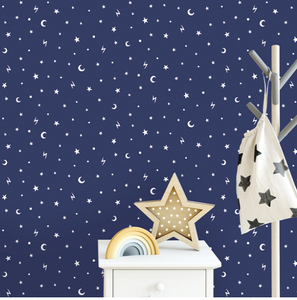 This fun dark wallcovering will not only add colour to your child's room but a fun element of glowing stars and moons!