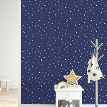 Over The Rainbow Stars and Moons Navy Glow In The Dark Wallpaper