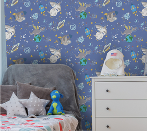 Space Animals Blue Glow In Dark Wallpaper