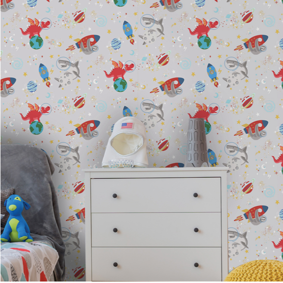 This dark wallpaper is a great selection for adding fun to a bedroom and using dark wallpapers and black background for a room. The space animals rockets, and moon will brighten up any wall.