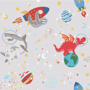 Space Animals Grey Glow In Dark Wallpaper