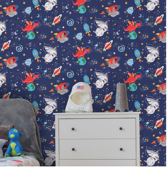 Space Animals Navy Glow In The Dark Wallpaper